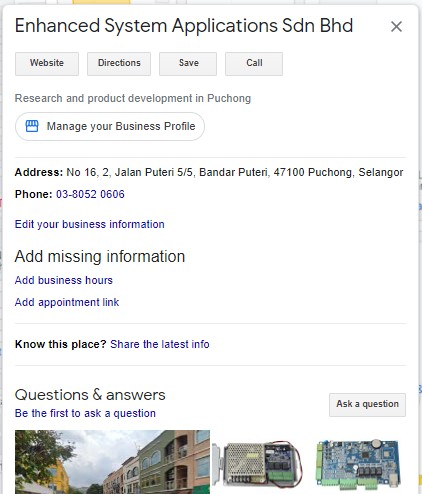 Enhanced System Applications Sdn Bhd on Google Map with category